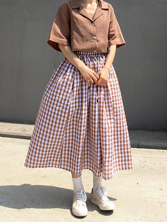 cube check banding skirt / 3color