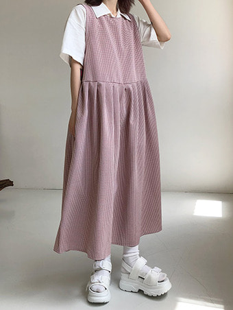 gingham check pleats ops / 3color