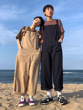 C stitch overall pants / 2color