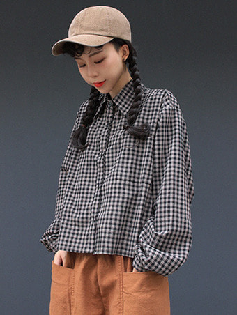 gingham crop NB / 2color
