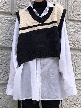 [unisex] crop knit vest / 2color