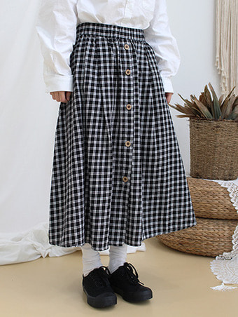 button check skirt / 2color