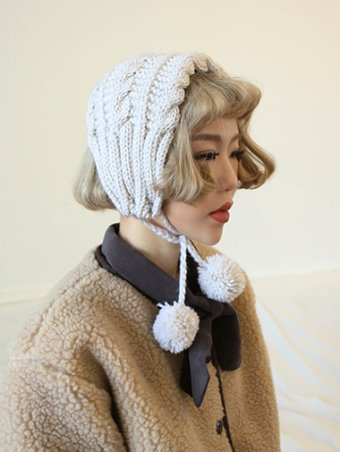 pom knit earmuffs - 4color