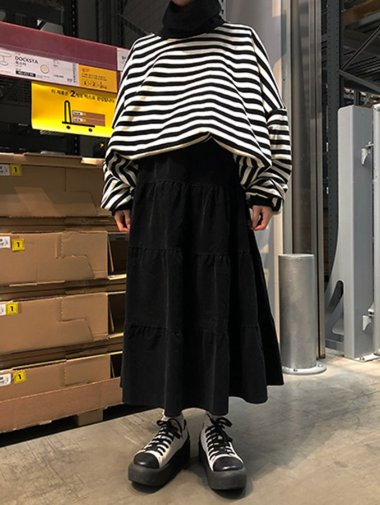 corduroy can skirt / 3color