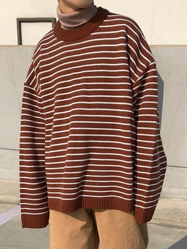 [unisex] IC stripe over-fit knit / 4color