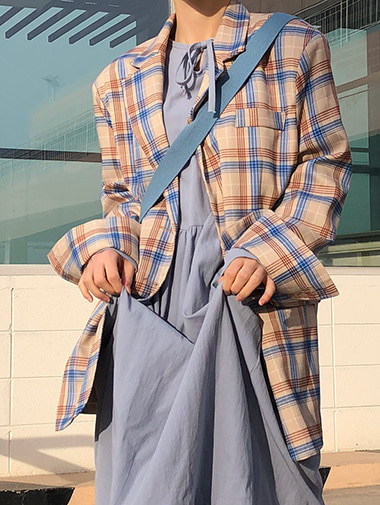 martain check jacket / 2color