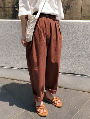 linen pintuck slacks / 3color
