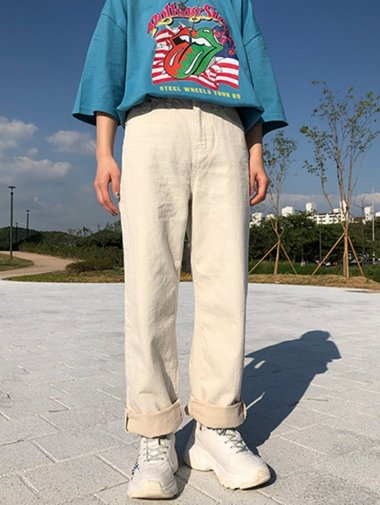 two-tone straight pants / 3color