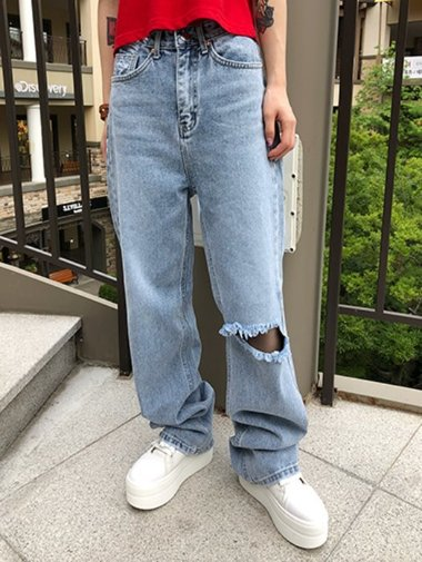 loose destroyed denim P