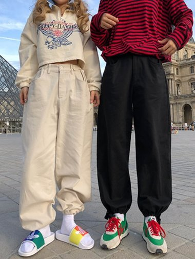 [unisex] Bizo wide string Pants / 2color