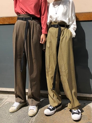 Paris belt wide pants / 2color