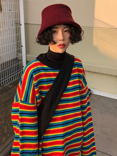 [unisex] Bold rainbow knit / 2color