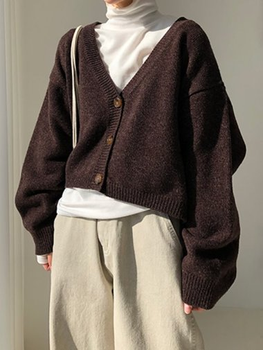 Woolen mini cardigan / 3color