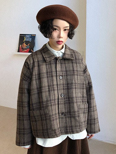 Woolen Check short jacket / 2color
