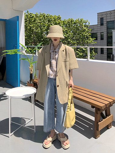 Linen boxy harf jacket / 2color