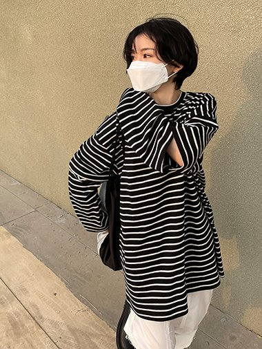 Stripe chain boxy T / 3color