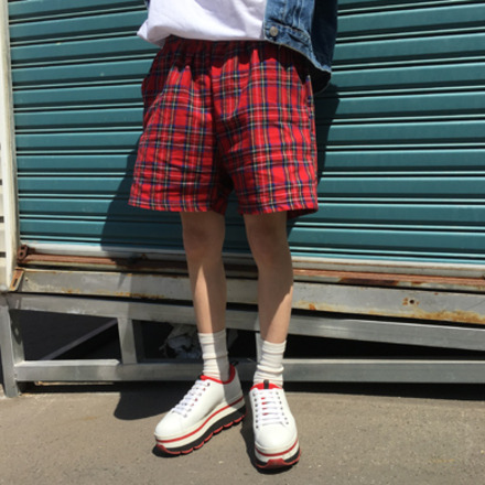 (unisex) check harf pants - 4color