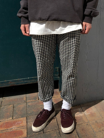 [unisex] check baggy pants