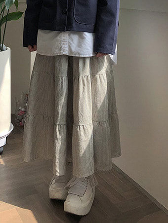 stripe can can skirt - 2color