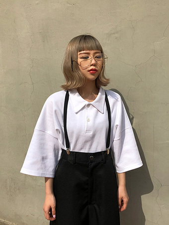 [unisex] boxy crop collar T - 5color