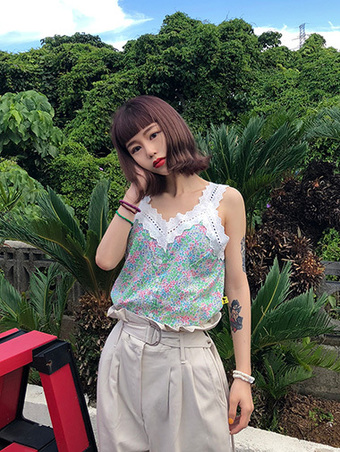 lace flower top - 2color