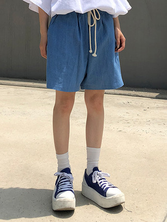 [unisex] denim wide harf pants / 2color