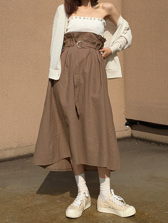 linen belt frill skirt / 3color