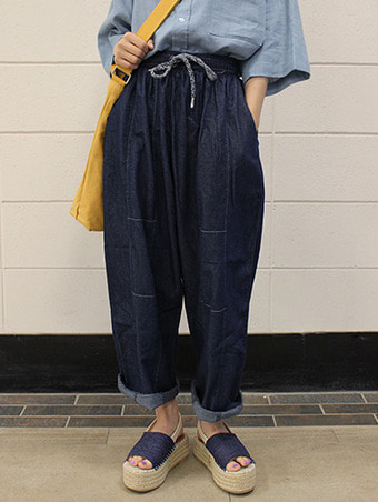 denim wide stitch pants / 2color