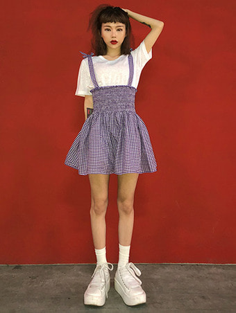 check smock top & skirt / 2color