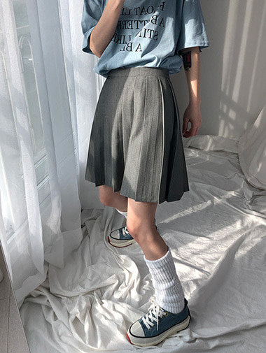casual pleats skirt / 2color