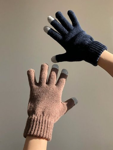 [1+1] Wool touch finger gloves / 4color