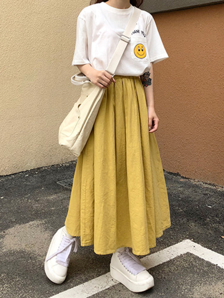 L linen badning skirt / 3color