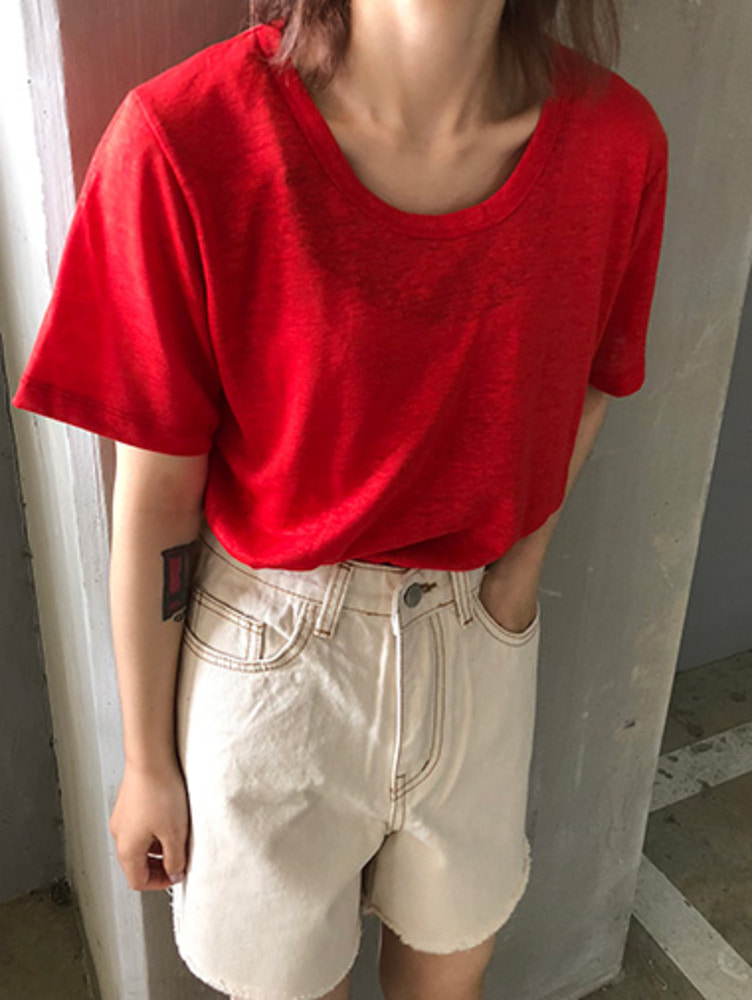 colorful linen T-shirts / 8color