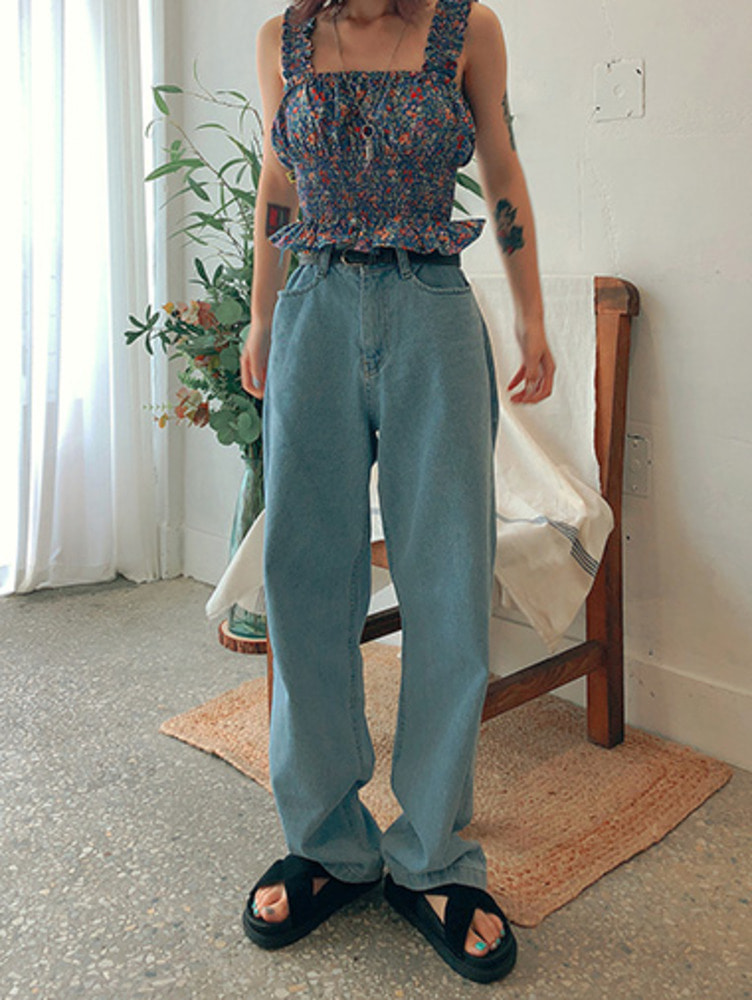 loose wide denim pants / 2color