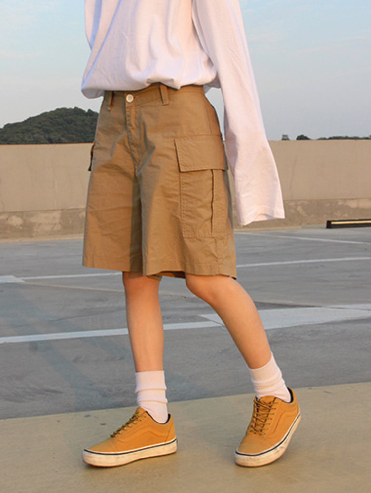 cargo harf pants / 2color
