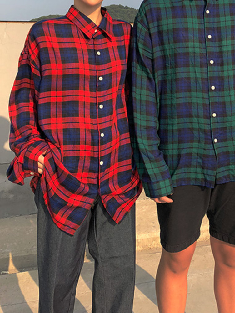 [unisex] silky check shirts / 2color