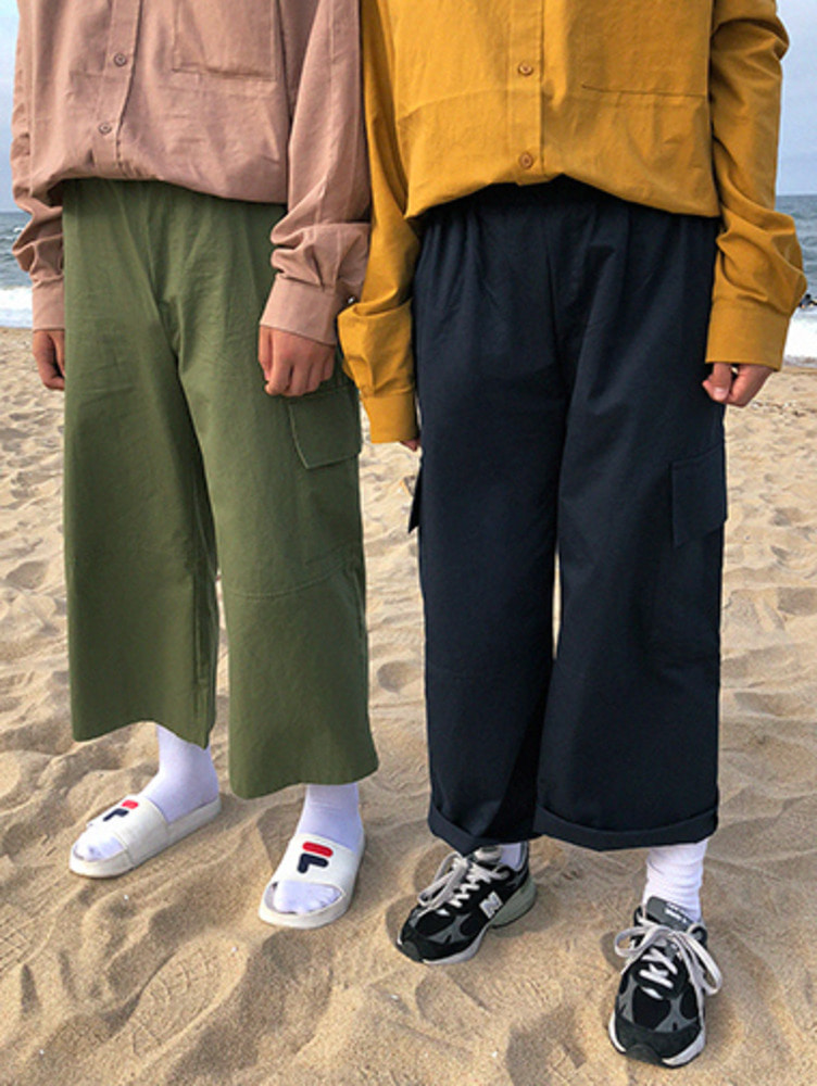 banding cargo wide pants / 3color