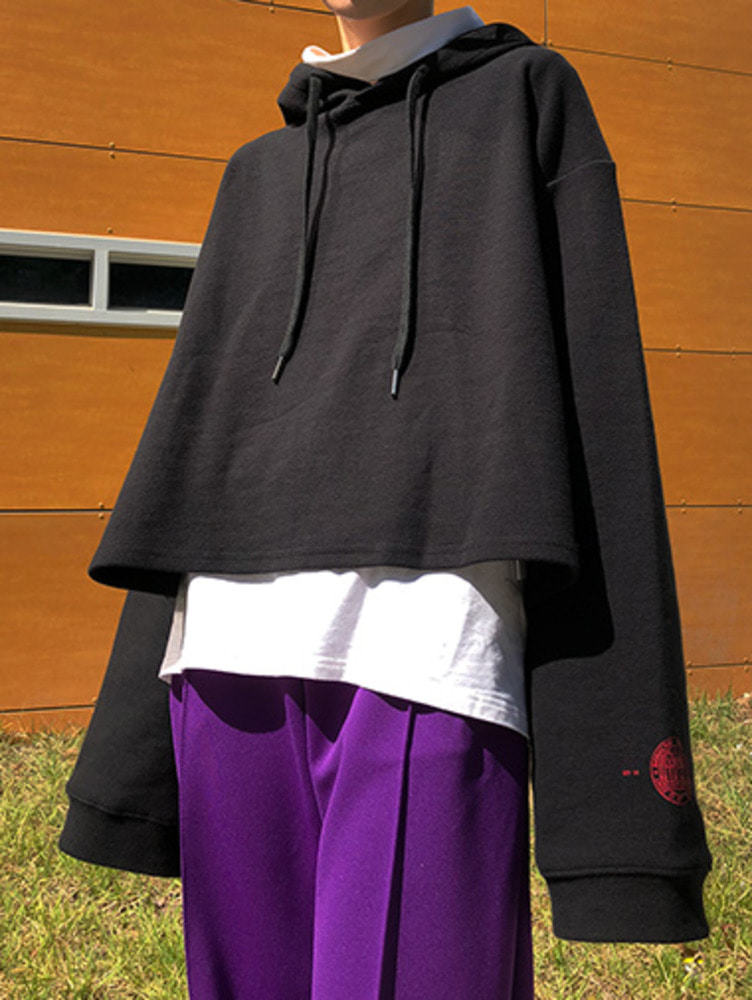 [unisex] overfit crop hood / 3color
