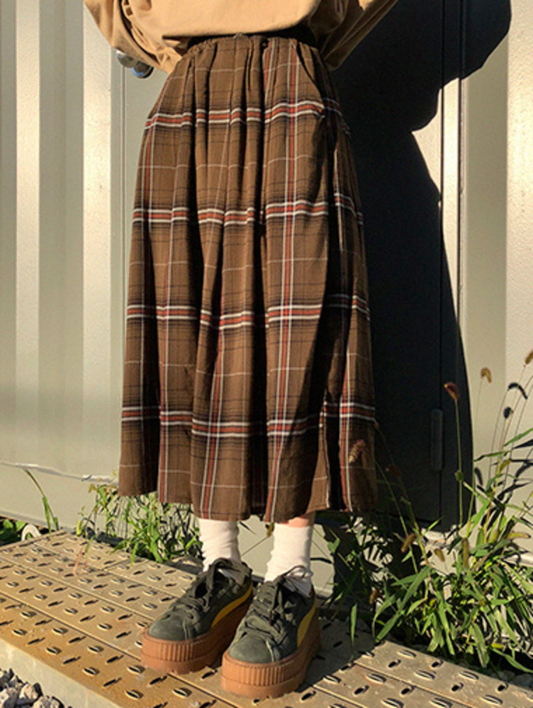 Ann check skirt / 2color