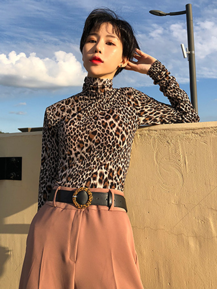 leopard pola-neck T / 3color