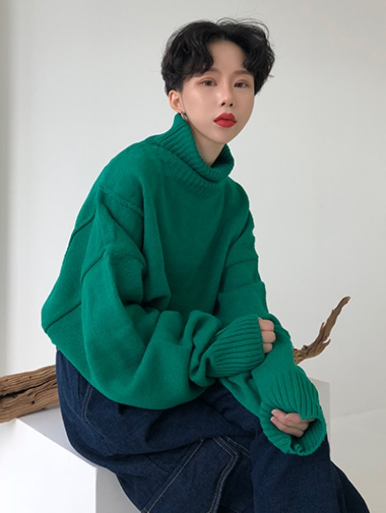 [unisex] overfit turtle knit / 3color