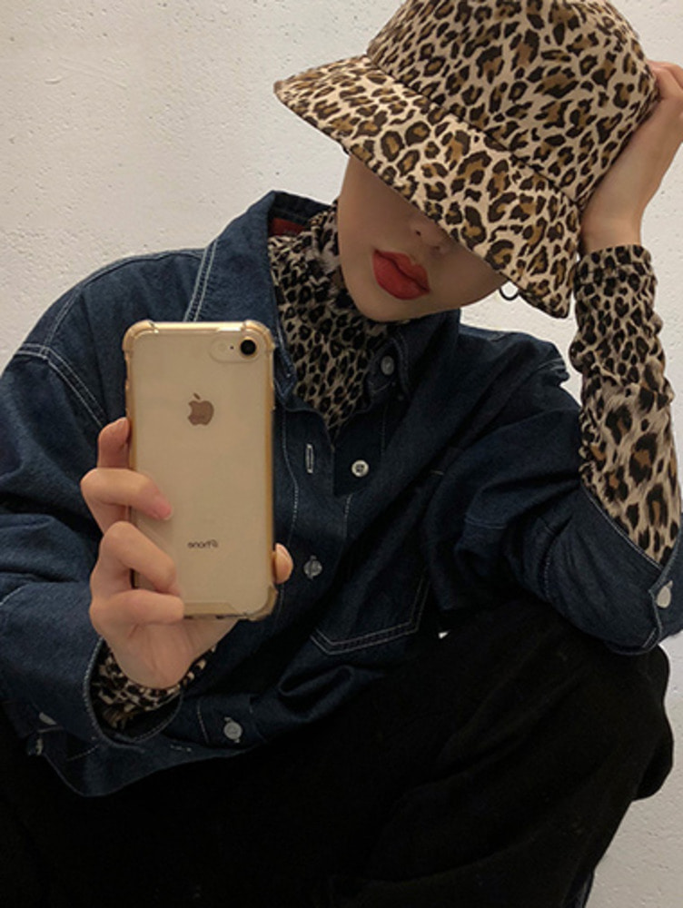 suade leopard bucket hat / 2color