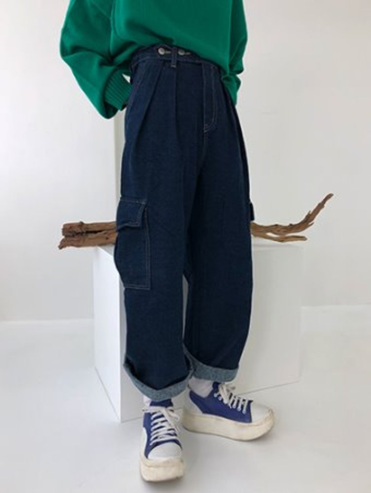 warm cargo wide pants / 2color