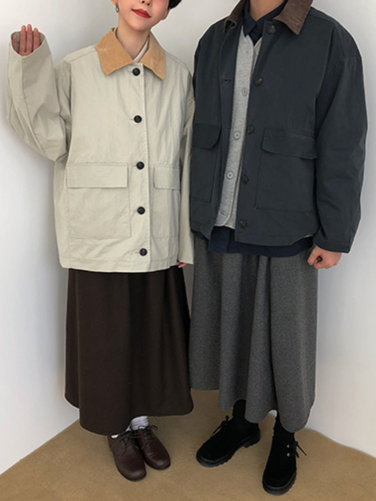 corduroy collar jacket / 3color