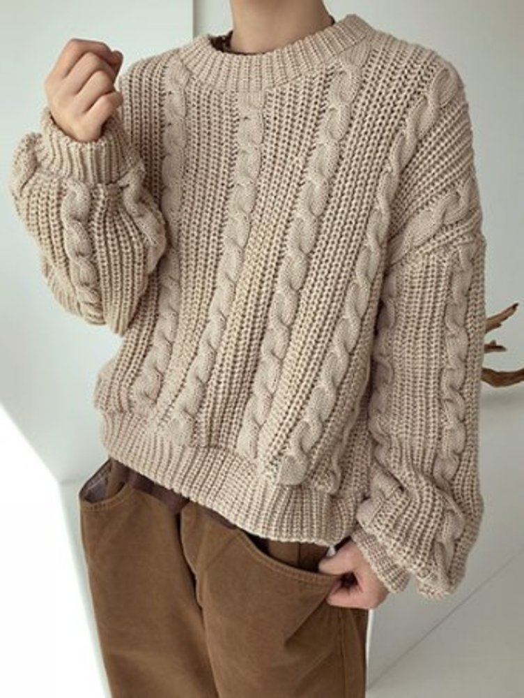 cable crop knit / 2color