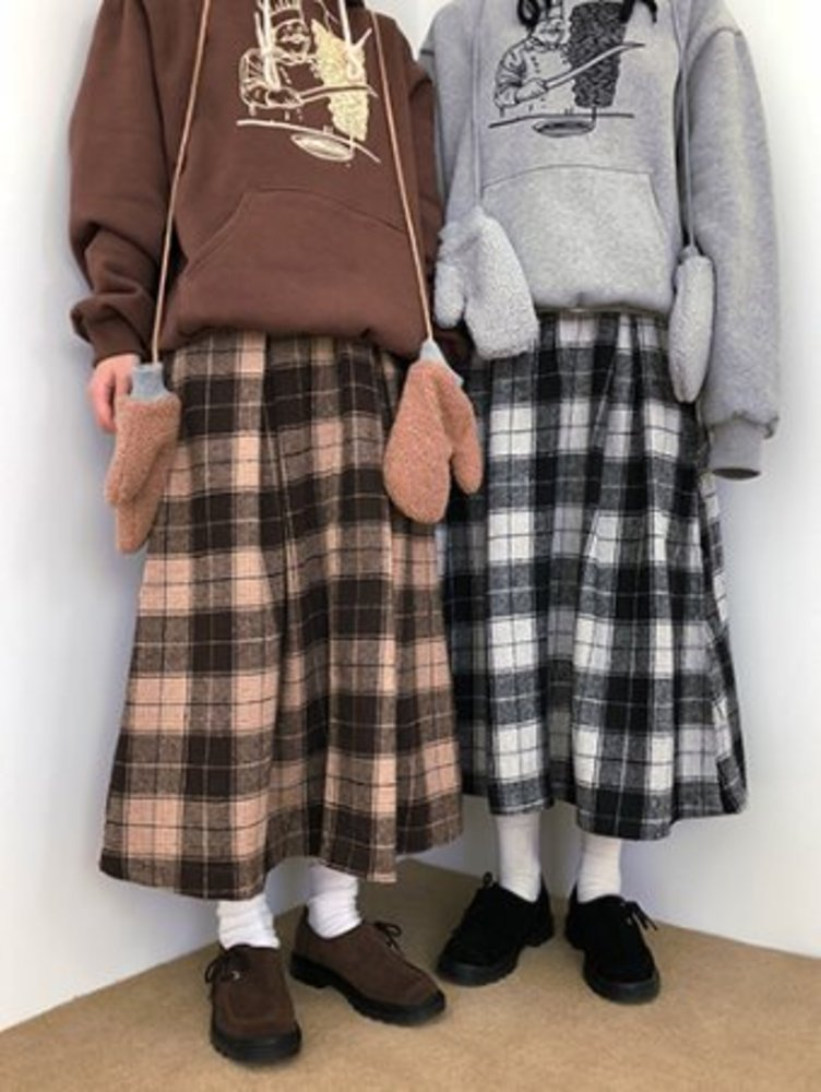 wool check skirt / 2color