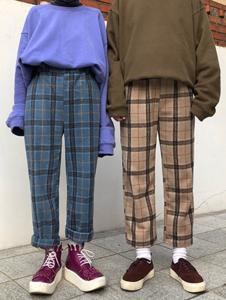 warm check banding pants / 3color