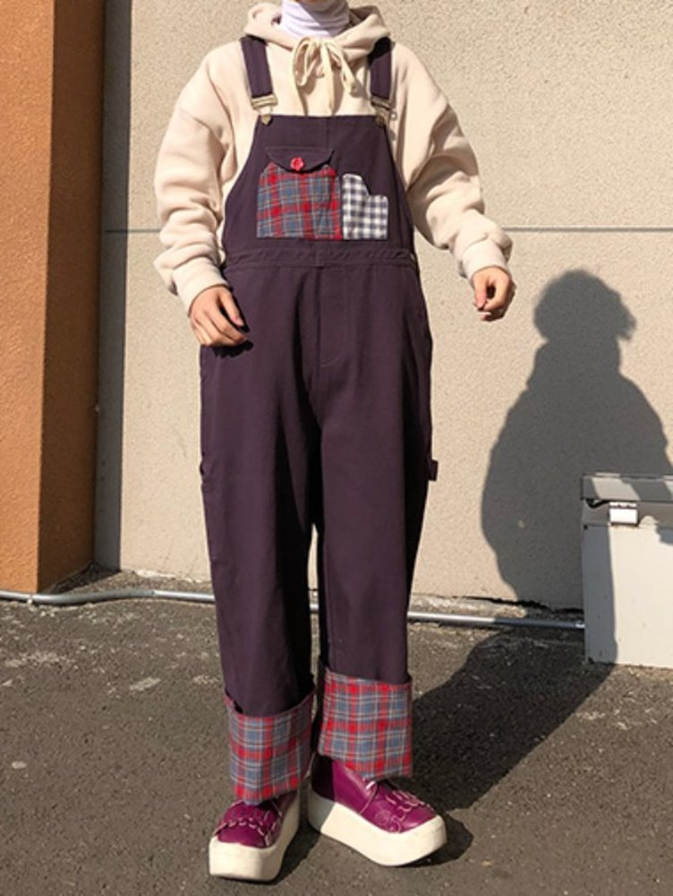 [한정수량] vintage purple overall pants