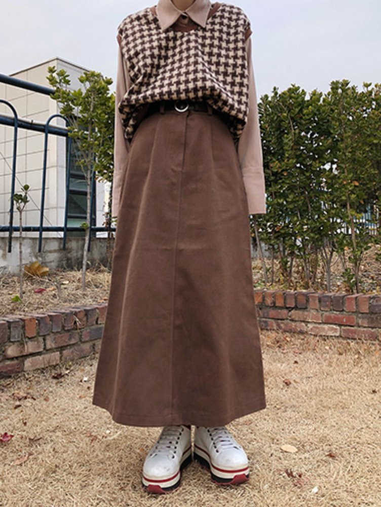 cotton long slit skirt / 3color