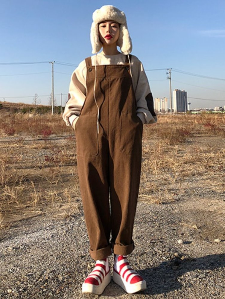 warm soft overall pants / 2color